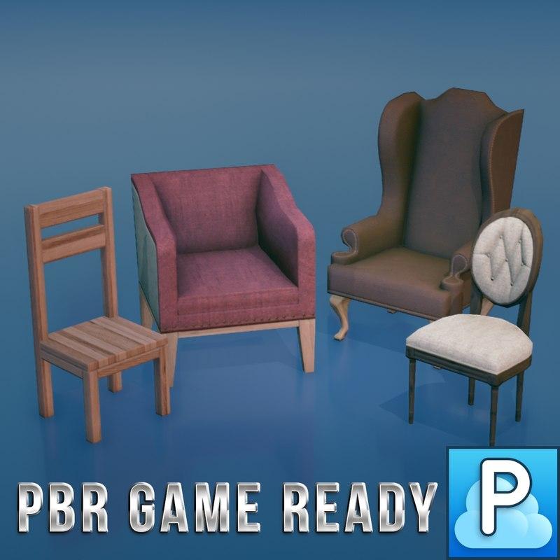 ready chairs 3d fbx