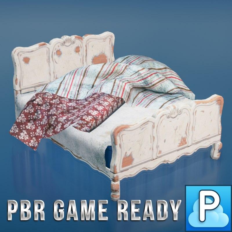 3d model vintage bed