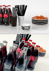 3D party snacks drinks set model