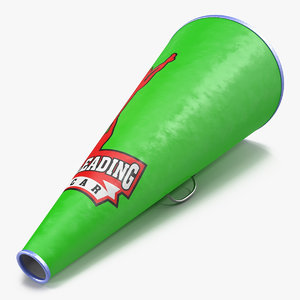 cheerleader megaphone green modeled 3d max