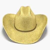 3d model cowboy hat 3 modeled