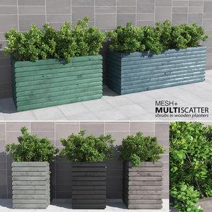 3d shrubs wooden planters