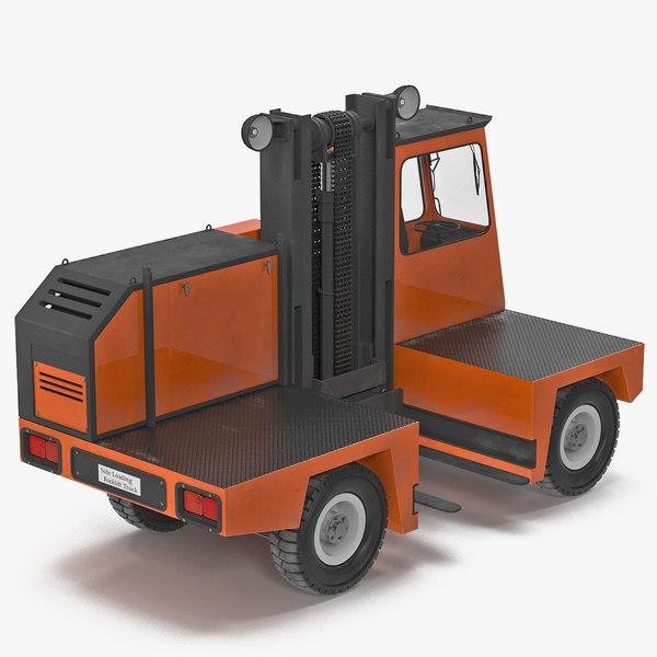 3d loading forklift truck orange model