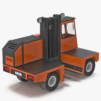 3d loading forklift truck orange model