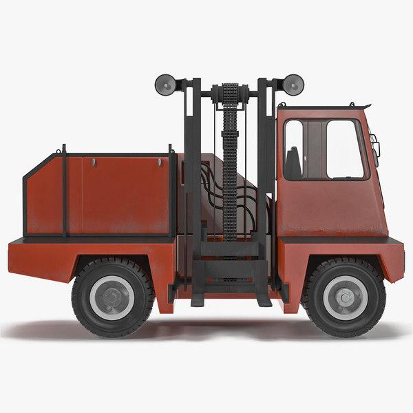 3d model loading forklift truck red