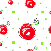 seamless pattern with cherry fruit and green squares