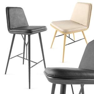 spine barstool chair 3d model