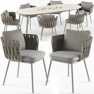 tosca table armchair set 3d model