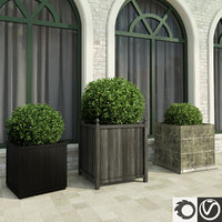 3d model bushes boxes