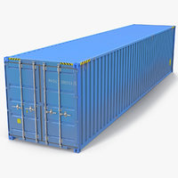40 ft ISO Container Blue 3D Model