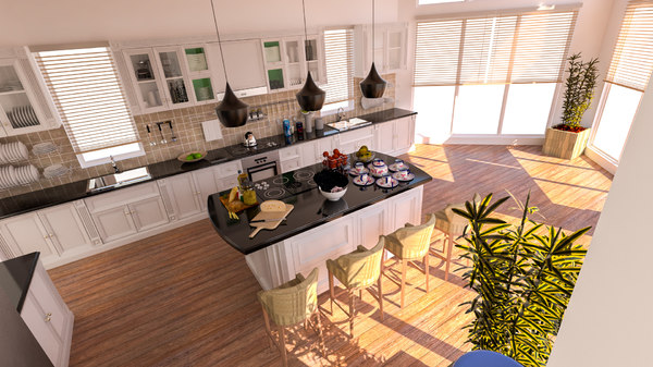 interior rendering american house 3D model