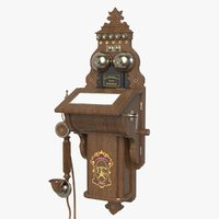 3d model antique wall ericsson telephone