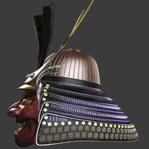 3d model of feudal oni helmet