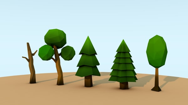 3d model trees low-poly
