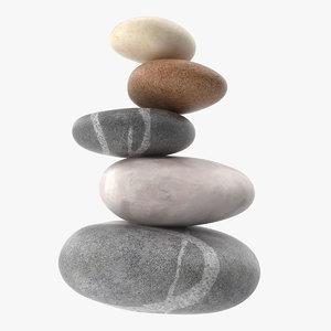 3D model zen stones stack