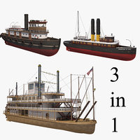 steamship steamboat 3D model