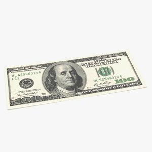 100 dollar bill 3D model