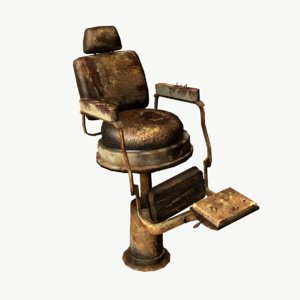 obj old barbershop chair
