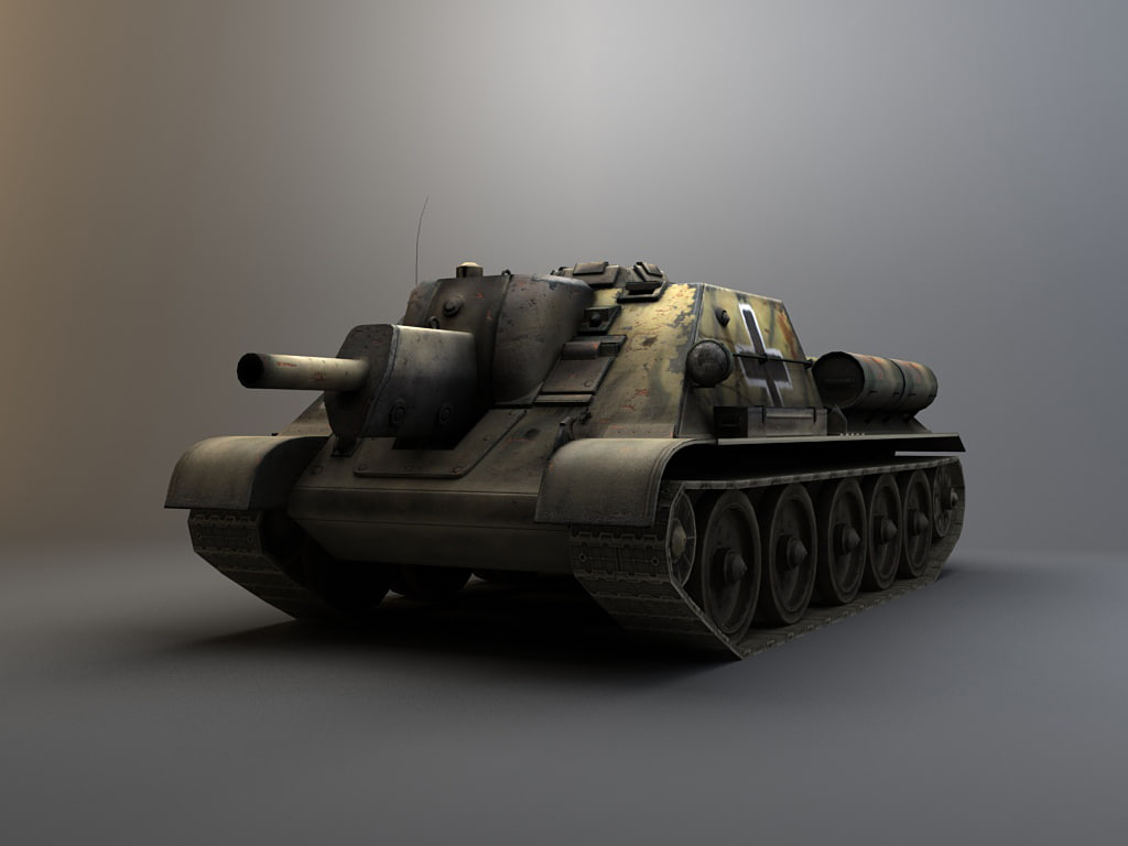 su122 tank 3d model