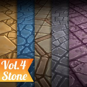 Texture Set Vol.04 Hand Painted Stone Tile (Stylized Texture Tiles)