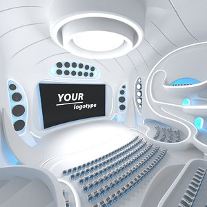 sci-fi futuristic hall interior 3D model