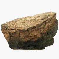 3D model big limestone boulder 2