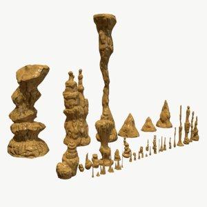 3d set stalagmites model
