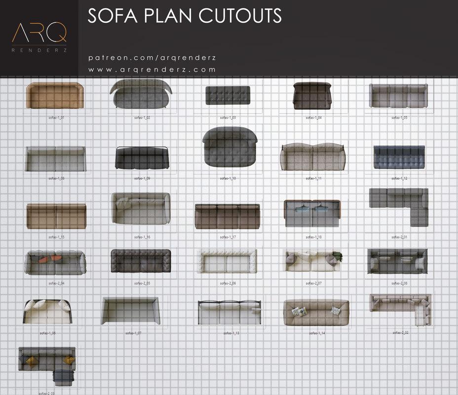 Texture Other Plan Cutout Sofa