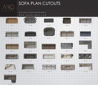 Sofas plan cutouts PNG