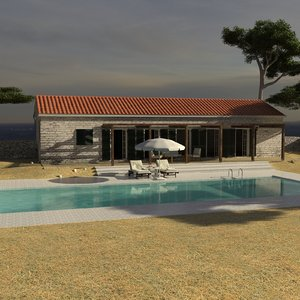 dalmatian house mediterranean pool 3d model
