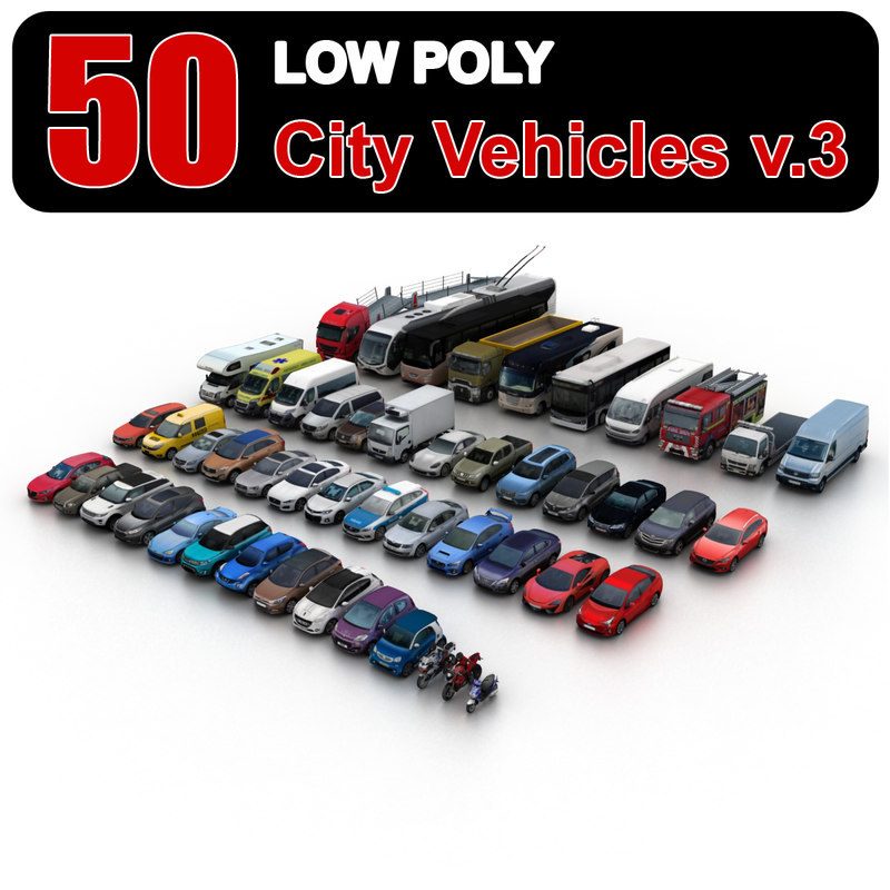 city vehicles 3 3d model
