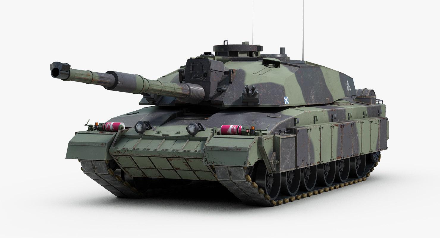 3d british challenger 2 mbt model