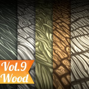 Texture Set Vol.09 Hand Painted Bark (Stylized Texture Bark)