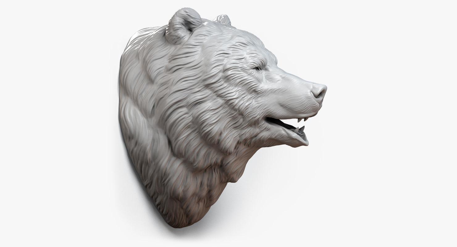 bear head sculpture animal 3d max