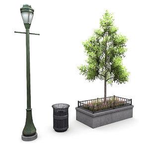 street lamp tree 3d max