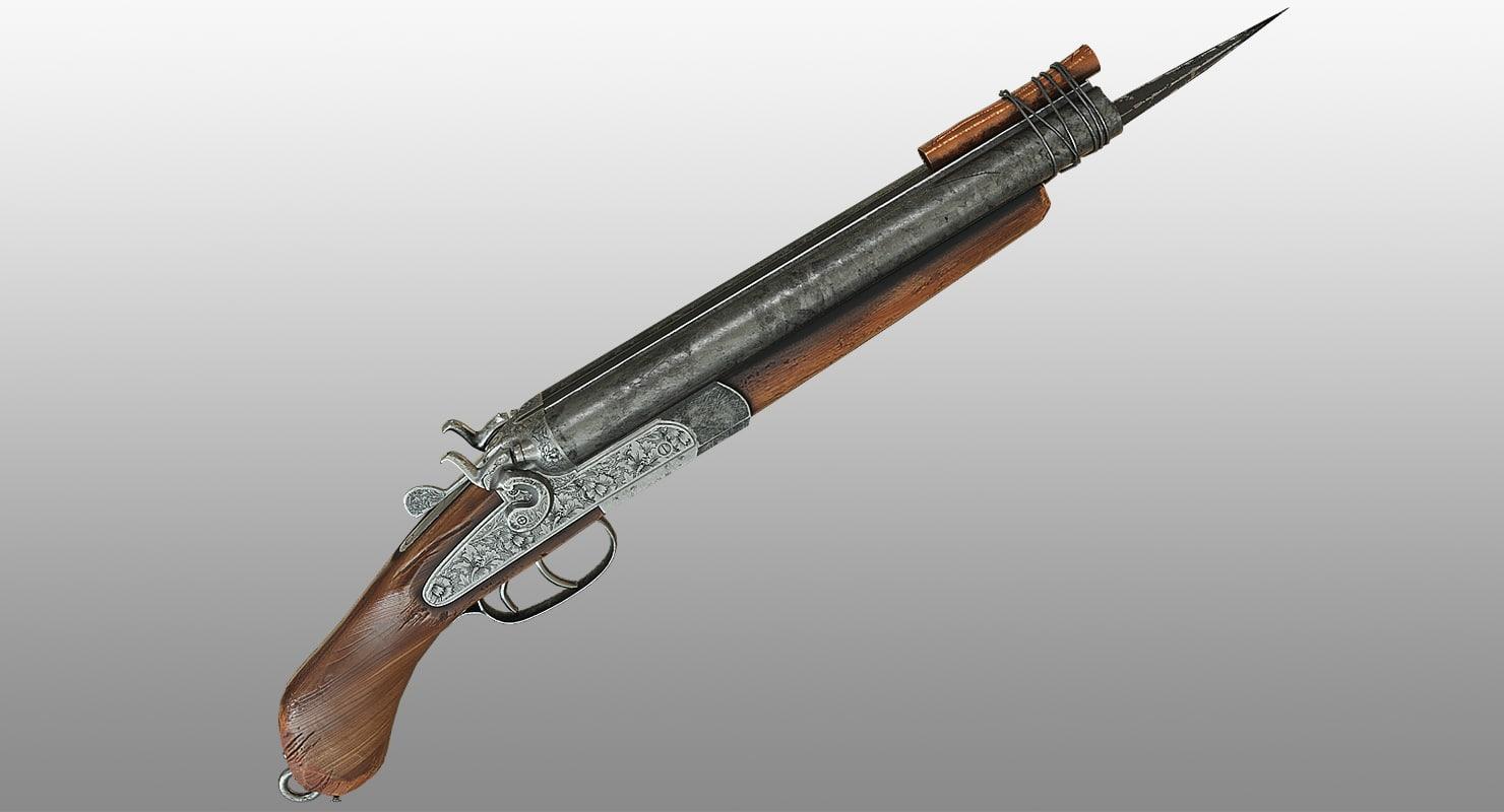 gun shotgun zombie 3d obj