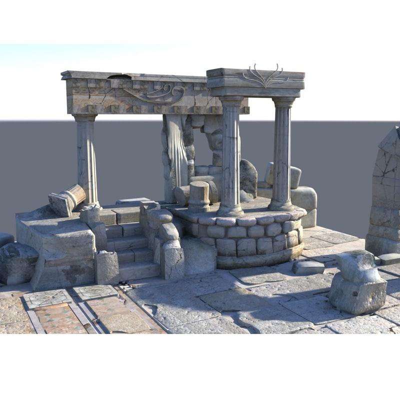 3d model of temple ruins