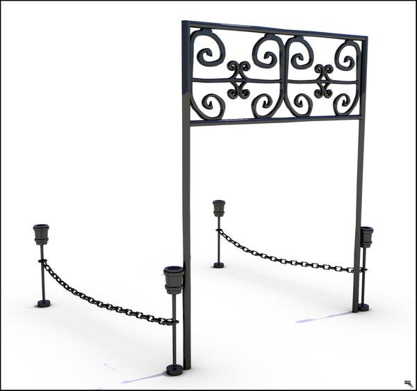 gate medieval fence 3d model