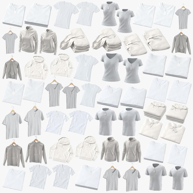 3D crew v-neck t-shirts standard model