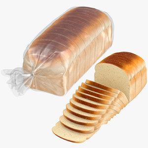 3D model sliced bread