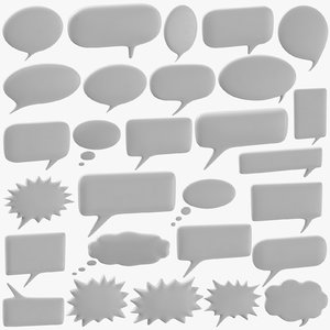 3D 28 thought bubbles - model