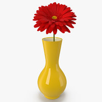 Red Gerbera Daisy In Vase 3D Model