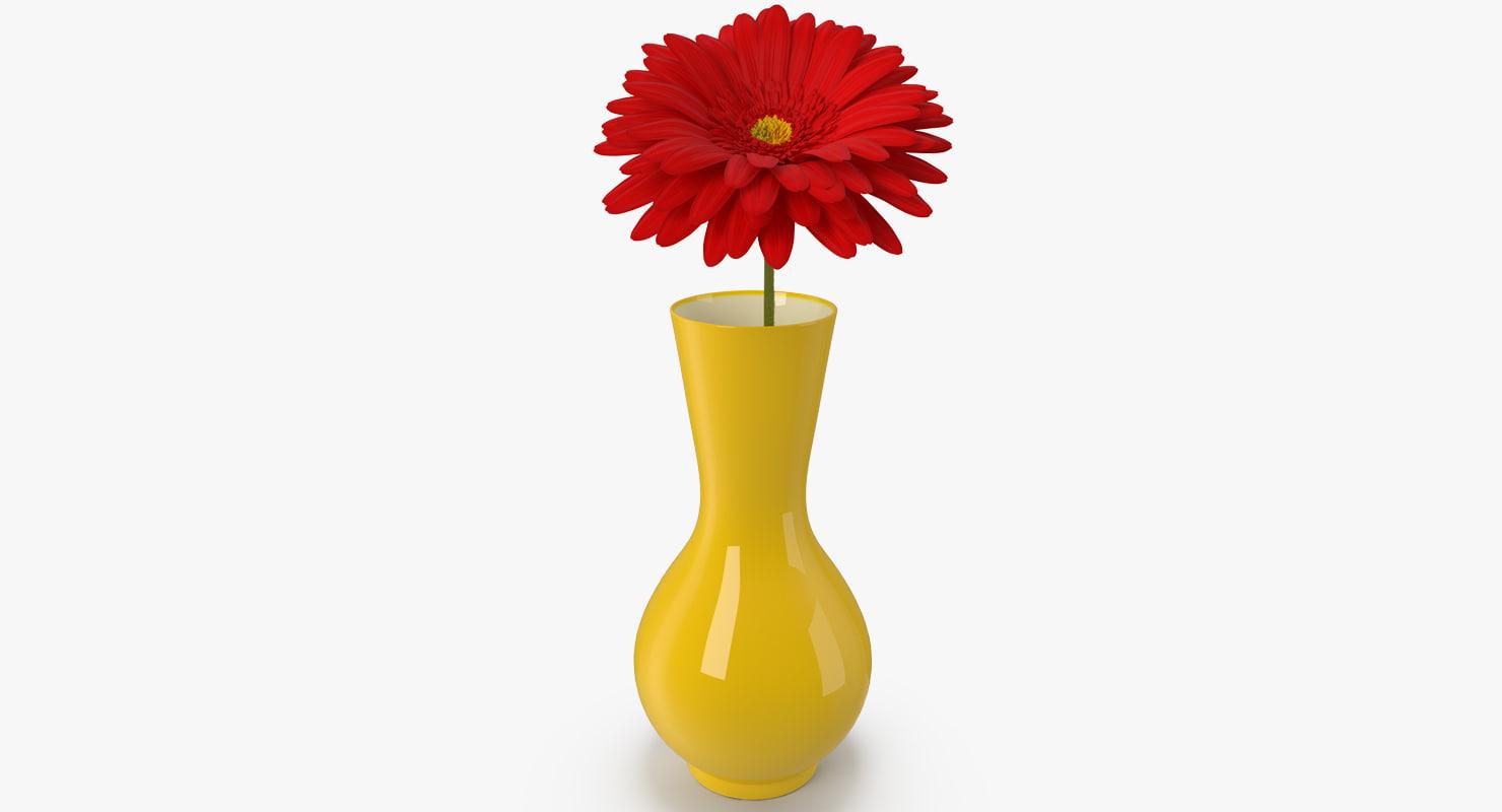 3D red gerbera daisy vase