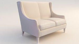 3D model sofa chesterfield wing