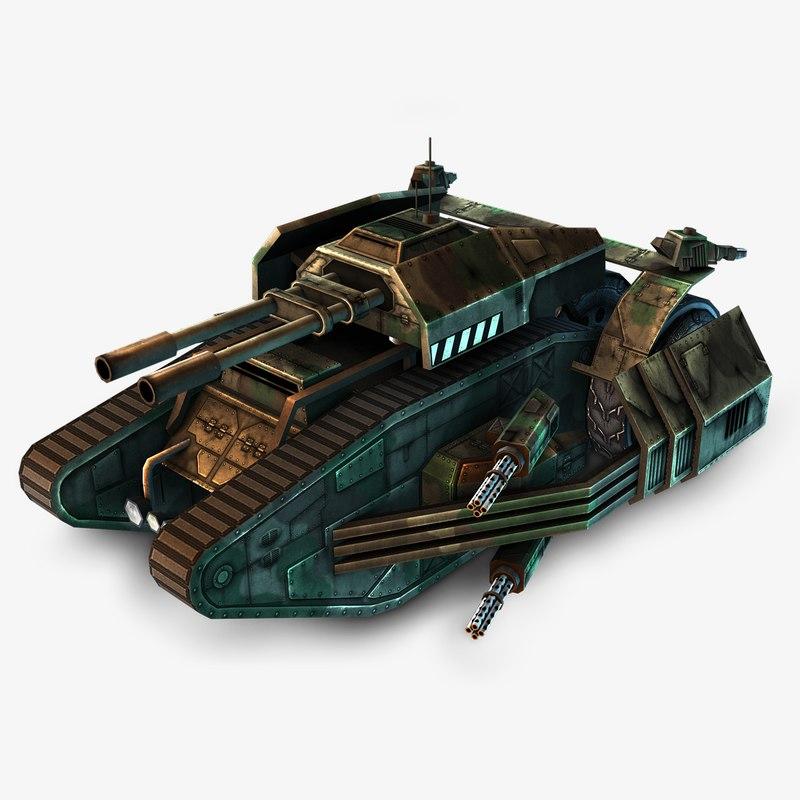 futuristic tank 3d obj