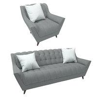3d model fitzgerald sofa joybird