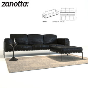 sofa zanotta 3d model