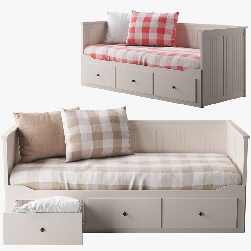 3d ikea hemnes bed 1 model