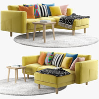 3ds two-seat sofa chaise longue