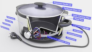 3D electric pot cooker model